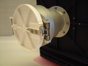 The MIDAS funnel with the one-shot cover, in closed position